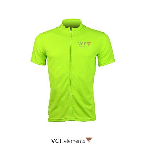 VCT Performer Jersey Herren Funktions Fahrradtrikot Kurzarm Radtrikot Fullzip atmungsaktiv mit Reflektoren (Neon-Grün, XL) -