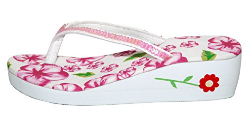Sequinn Ladies legato con zeppa bassa T Post Thong infradito Rosa e bianco