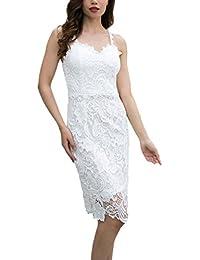 b916d50712135 Abito Cerimonia Donna Eleganti Estivi Vintage Vestiti in Pizzo Corti Tubino  Smanicato Senza Schienale Vestito Slim Fit…