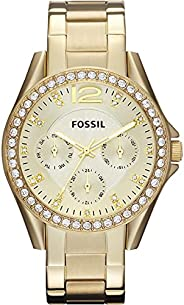 Fossil Women's Riley Stainless Steel Crystal-Accented Multifunction Quartz W