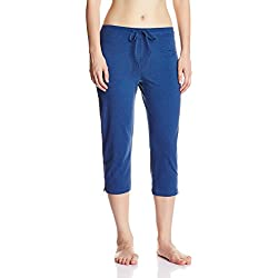 Jockey Women's Cotton Capri Pants (1300-0105-VDMEL_Blue_Small)