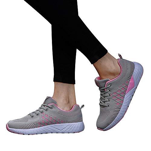 (MYMYG Leichtes Sneaker Damen Laufschuhe Schnürschuhe Joggingschuhe Herbst Winter Gemütlich Atmungsaktiv Sportschuhe Laufende Straps Turnschuhe Freizeitschuhe Athletisch Jogging Fitness)