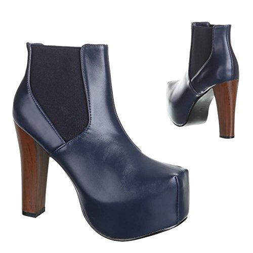 Damen Schuhe, B752H-KB, HIGH HEELS PLATEAU STIEFELETTEN Dunkelblau