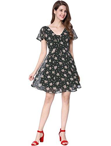 Allegra K Women's Summer Flounce Sleeve Lace up V Neck Chiffon A-Line Floral Dress L Black