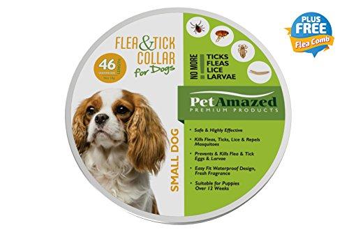 NEW PetAmazed Flea & Tick Collar for Small Dogs 46cm – Prevents & Kills Fleas, Ticks, Lice & Larvae – Repels Mosquitoes - Premium Protection - Plus FREE FLEA COMB