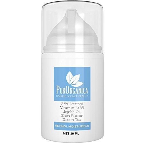 PurOrganica Retinol Moisturising Cream - Premium 2.5% Retinol Face Anti Ageing Cream With Vitamin E + B5, Jojoba And Shea Butter - Firming Cream For Wrinkles, Fine Lines, Acne And Dark Spots - It Works Or Risk Free 100% Money Back Guarantee