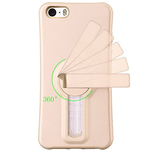 iPhone 5/5S Hülle iPhone SE Mount Hülle HB-Int 3 in 1 Weich Silikon Schutzhülle 360 Grad Standfunktion Handytasche Schutz Stoßfest Etui Ständer Case Soft TPU Back Cover Gold für iPhone 5 / 5S / SE + S Luxus Gold