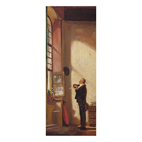 Bilderwelten Glasbild - Kunstdruck Carl Spitzweg - der Schreiber - Panorama Hoch, Größe HxB: 100cm...