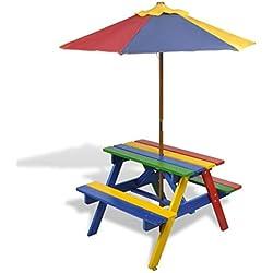 vidaXL Table et Bancs de Pique-nique avec Parasol pour Enfants Meubles Camping