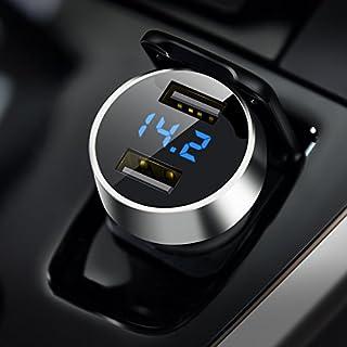Auto Ladegerät, USB Auto Adapter KFZ Ladegerät mit LED Digital Voltmeter 2-Port 5V / 4.8A (Aluminium-Legierung Gehäuse) für Phone X / 8/7 / 6s / Plus, Galaxy S8 / S7, Huawei P9/P10 (Silber)(MEHRWEG)