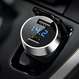 AINOPE Caricabatteria auto USB, 4.8A Caricatore adattatore universale 2 Porte con voltmetro digitale a LED (Materiale in…