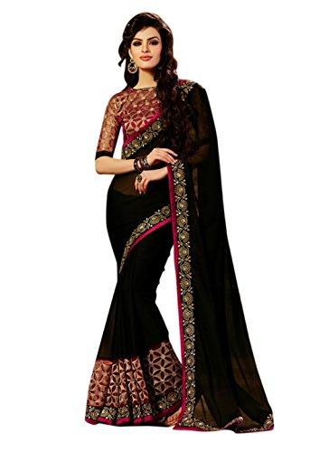 Febo Fashion Women's Georgette Black Colour Embroidered Work Sari