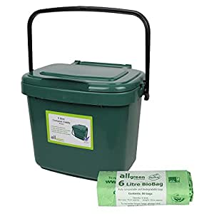 Green Kitchen Compost Caddy (5L - Small) & 50x Biobags - for Food Waste Recycling (5 Litre) - 5L Plastic Composting Bin