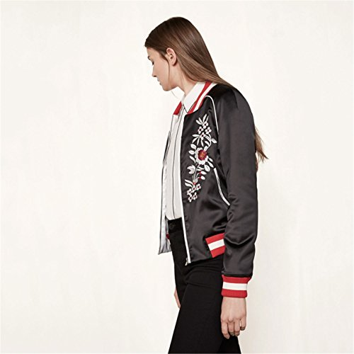 Blumen Embroidery Zip Up Collegejacke Bomberjacke Blouson Aviator Flight Jacket Jacke Oberteil Top Schwarz - 4