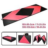 CCLIFE Rose+Schwarz Weichbodenmatte Turnmatte Klappbar Gymnastikmatte 180x80x5/240x120x5 cm, Größe:240x120x5cm