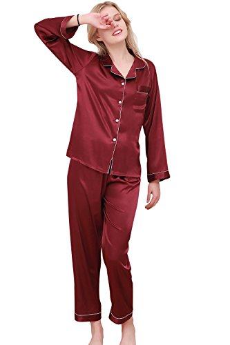 Dolamen Pigiama per Donna, Coppie Camicia da Notte Donna, morbida Pigiama Pigiami in Raso, Luxury Controllare bottoni camicia collare con Pocket Chemise lungo Camicia da notte Rosso