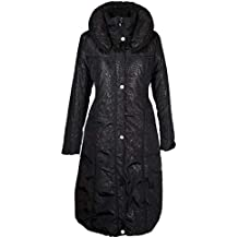 Italy Donna Damen Lang Wintermantel Ballon Mantel Steppmantel Parka Trench  Coat Schwarz 36 38 40 42 1852916f0a