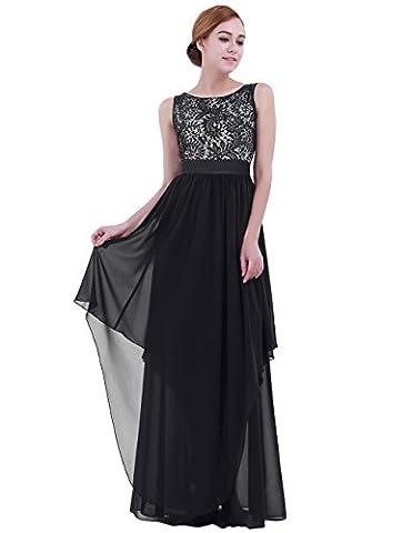 TiaoBug Femme Robe Longue Cocktail ---sans Manches Noir #S-3XL Noir XXX-Large