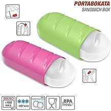 TATAY 1167001/2 Lote 2 Porta bocadillos extensibles y ecologicos en color Rosa y Verde Lima
