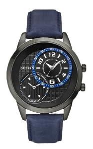 Guess GALLERY W11174G2 - Reloj analógico de cuarzo para hombre, correa de cuero color azul de Guess