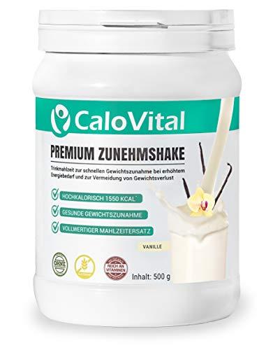 Trinknahrung hochkalorisch für Gewichtszunahme | Kohlenhydrate & Eiweiß als Kalorien Shake | Hochdosiert mit vielen Vitaminen | CaloVital - Premium Qualität aus Deutschland (Vanille 500g)