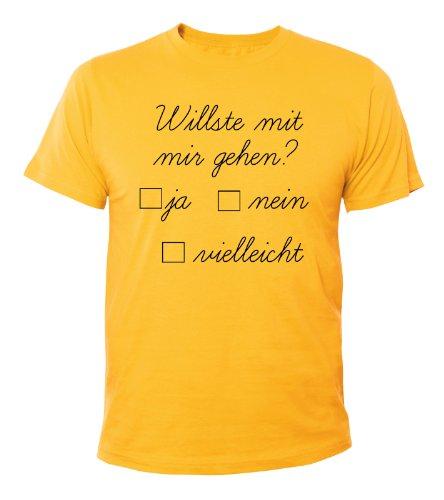 Mister Merchandise Cooles Fun T-Shirt Willste mit mir gehen?? Gelb