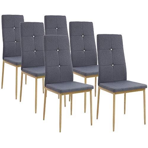 Albatros Esszimmerstühle Crystal 6-er Set Anthrazit/Grau, Stoffbezug, Bequem & Ergonomisch geformte Lehne, Küchenstühle