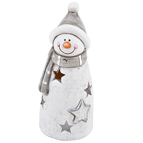 gn Keramik weiss silber Weihnachten Deko (21x9x9cm) (Schneemann Weihnachten)