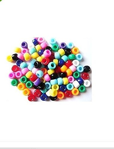 Pony Beads Perlen, blickdicht, 6 x 9 mm, 200 Stück