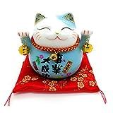 Cindio Winkekatze Glückkatze Maneki Neko Spardose mit Glocken Glückkatze aus Porzellan in versch. Farben 11 cm (Blau)