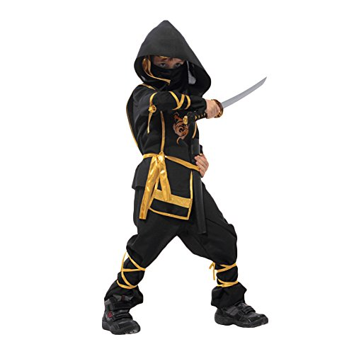 en Japan Ninja Comic Halloween Karneval Fasching Kostüm Set Anzug Top Hosen Schwarz (XL) ()