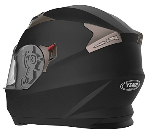 Motorradhelm Integralhelm Rollerhelm Fullface Helm – YEMA YM-829 Sturzhelm ECE mit Doppelvisier Sonnenblende für Damen Herren Erwachsene-Schwarz Matt-S - 4