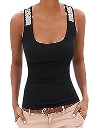 QinMM Camiseta de Lentejuela Casual de Mujer, Camisa de Verano sin Mangas Camisola Tops
