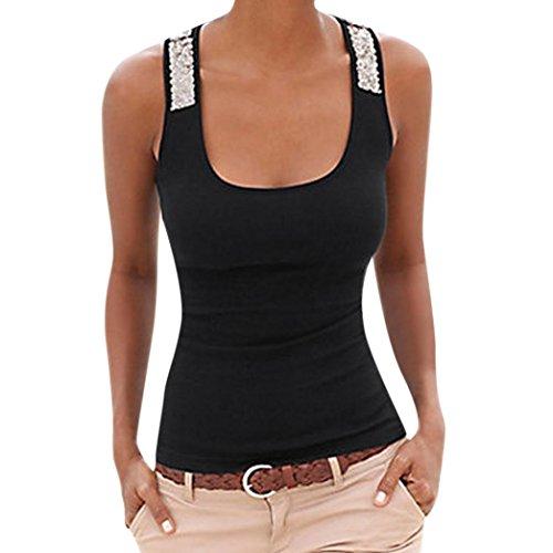 QinMM Camiseta de Lentejuela Casual de Mujer, Camisa de Verano sin Mangas Camisola Tops (Negro, L)