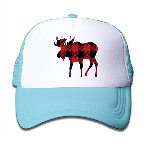 Sdltkhy Buffalo Plaid Moose Lumberjack Red Black Mesh Hat Trucker Style Outdoor Sports Baseball Deckel with Adjustable Snapback Strap for Kid's Pink Unisex24 -