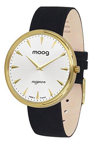 Moog Paris Mignon Women's Watch with Silver Dial, Black Strap in Adjustable Nubuck lace - M41681-C31