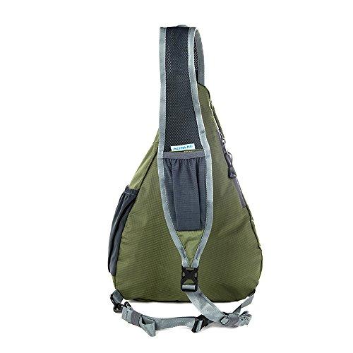 Docooler 10L Stopfbarer Schulter Rucksack/Folding Sling Umhängetasche Herren Damen für Fahrrad Dunkelgrün
