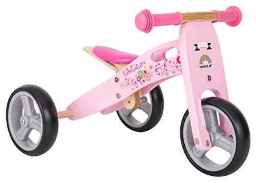 BIKESTAR® Vélo sans pédales pour enfant premium mini (combinaison 2 et 3 roues) pour les petits effrontés à partir de 18 mois ★ Édition Bois Naturel 2 en 1 ★ Rose Flamingo