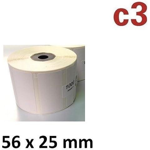 56x 25mm térmica rollo de etiquetas con 1000etiquetas para Epson TM de L60TM tm-l60ii TM-L90Zebra EasyCoder