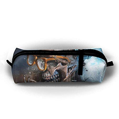 Unique Smoking Gothic Skull Pencil Case Student Multi-Function Bag Cosmetics Large Capacity Storage Bag Storage Sewing Kit Accessories Protective Cover for College Boys Gifts (Smoking Socks)