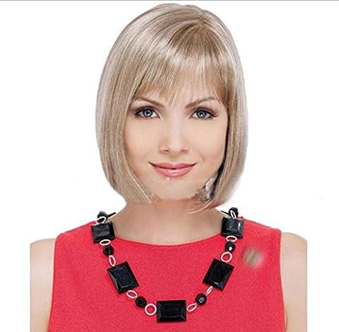 Perruques Europe et États-Unis Mode Femmes Or blanc Cheveux courts Cheveux raides Perruques