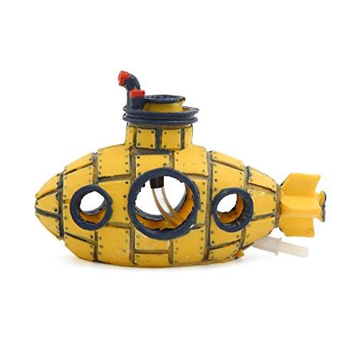 sourcingmap® Aquarium Dekoration Bubble Maker gelben Raumschiff Ornament 17x8x12cm
