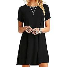237663b258cd OMZIN Damen Kleid Kurzarm Lose T-Shirtkleid Casual Tops Lonngshirt Große  Größe ...