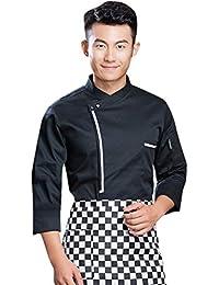 Dooxii Unisex Donna Uomo Autunno Manica Lunga Giacca da Chef Professionale  Ristorante Occidentale Torta di Cottura Uniformi Divise da… 9d82ff565973