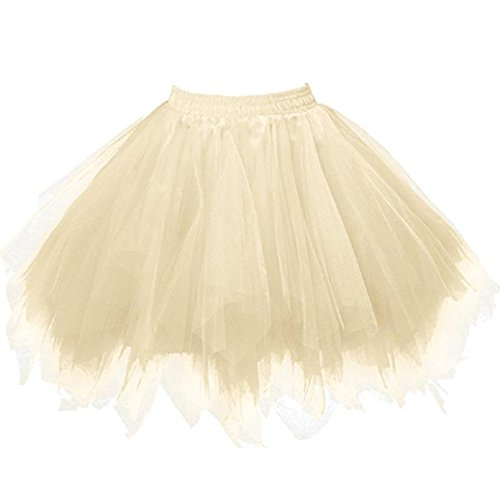 FNKDOR Tüllröcke Petticoat Kurze Damenrock Tutu Rock Ballet Unterkleid Unterrock (Gelb) Antoinette Creme