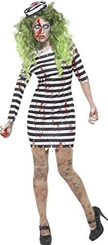 Smiffy's 45523XS - Damen Zombie Gefängnis Vogel Kostüm, Kleid und Hut, Größe: 32-34, (Outfit Gefängnis Halloween)