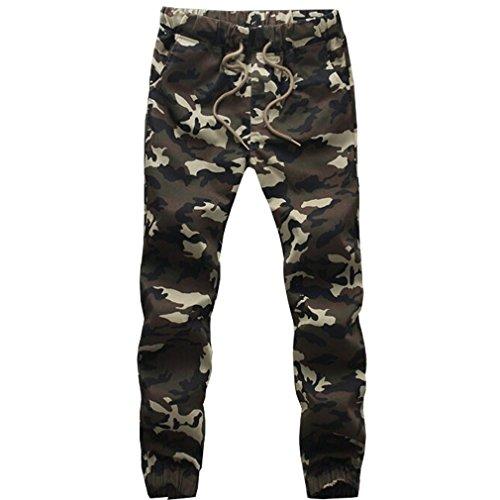 WTUS – Sottile Pantaloni Nero– Di tuta – Sportivi – Motivo mimetico – Tasche – Da uomo Verde