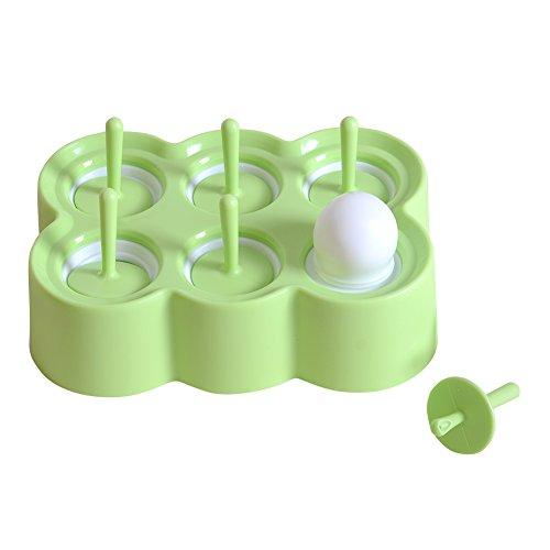 QBSM Grün Stieleisformer 6 Stück Eis am Stiel Formen aus Silikon BPA Frei,Eisformen für Kinder und Erwachsene