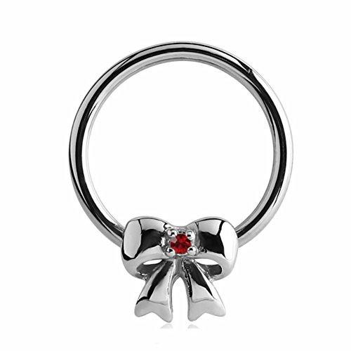 eeddoo Piercing-Ring Schleife Silber Edelstahl