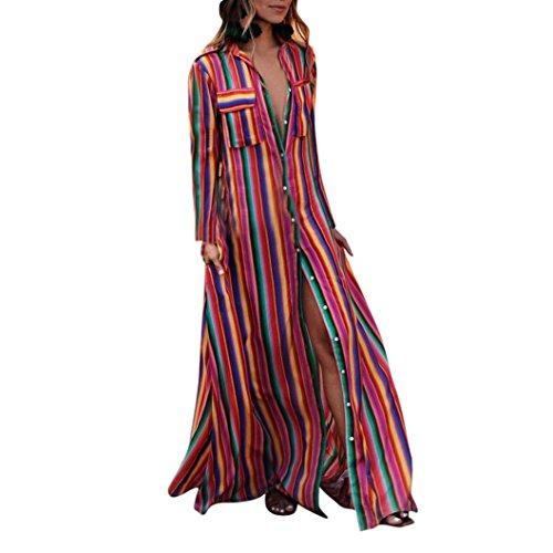 Ansenesna Kleider Damen Gestreift Lang Ärmeln Elegant Bunt Langarm Maxi Strand Kleide Locker Vintage mit Taschen (S, Mehrfarbig)